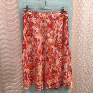 Valerie Stevens pink/orange/yellow skirt